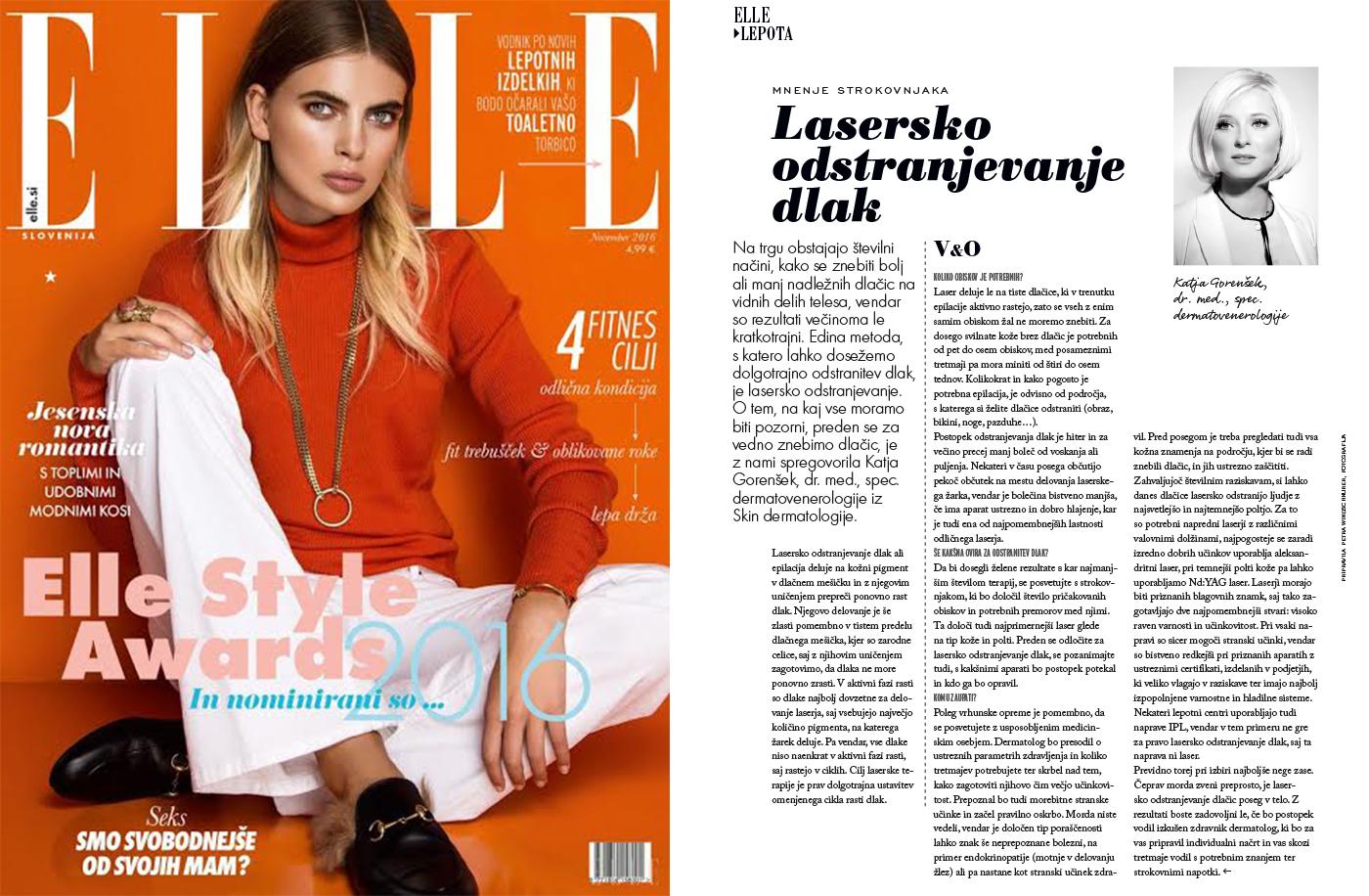 Intervju z dr. Katjo Gorenšek za revijo Elle